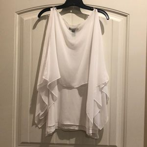 EUC WHBM Sz M white top w/cold shoulder overlay